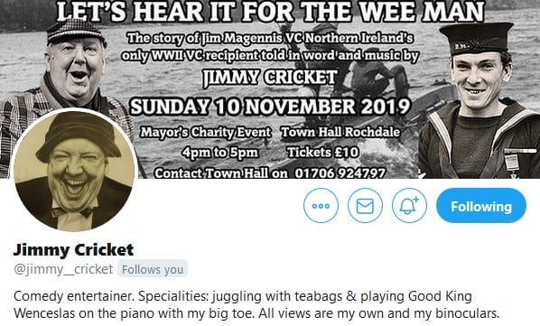Jimmy Cricket's Twitter profile promotes his muscial in Rochdale