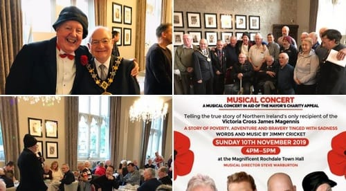 "Wonderful breakfast this morning with Billy the Mayor, his Secretary Dorothy, at the, ""Veterans Breakfast"", sharing the forthcoming event at the Town Hall which is on Remembrance Sunday, 10th November to raise funds for local Charities!"
