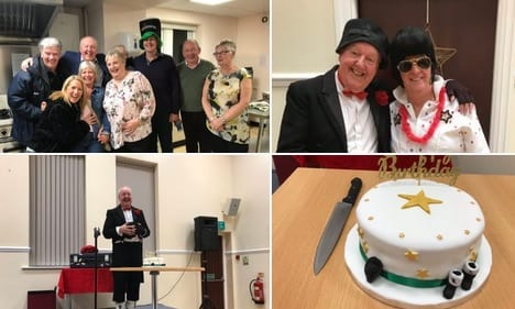 Jimmy Cricket: Fantastic evening at the West Bradford Village Hall for organisers Michael and Janet Fox, (with Elvis tribute Jim Nicholas, alongside Mrs C.), Susan their friend baked me this wonderful birthday cake!