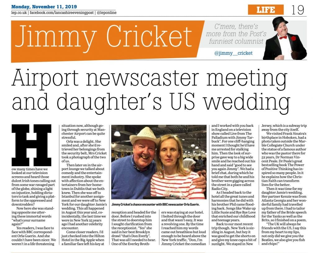 Here is my November LEP column where I tell of my chance meeting with this wonderful courageous lady @OrlaGuerin in Manchester Airport on my way to New York this summer!