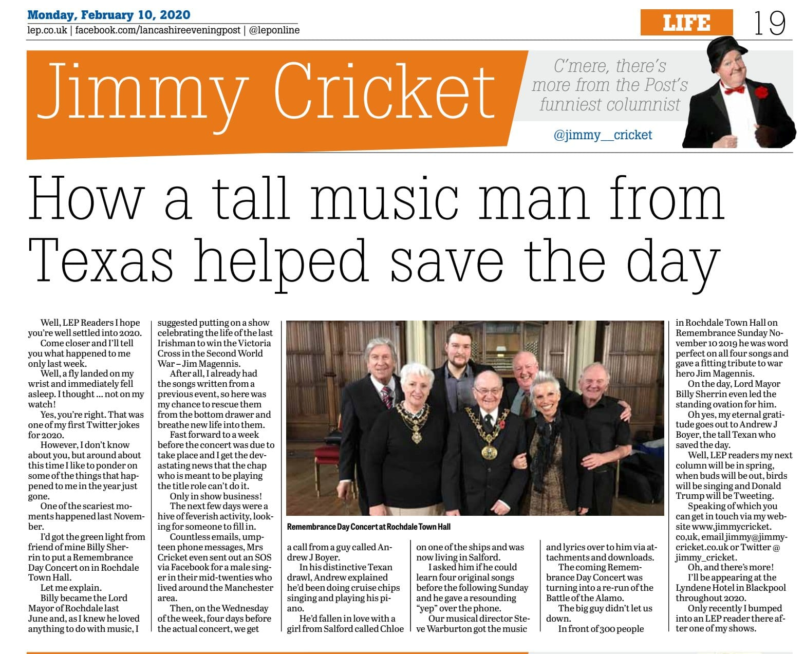 My Feb @leponline column folks, here I tell how at the very last minute, the Texan @AndrewJBoyer with his great voice, saved the Remembrance Day Concert at the Rochdale Town Hall for me and my fellow performers, which was in aid of the Lord Mayor, Billy Sherrin's Charities!