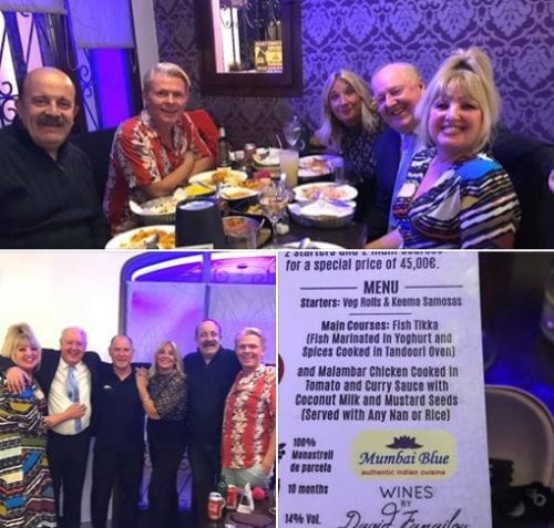 Our thanks to Andy and all the team at Mumbai Blue Indian Restaurant for a wonderful meal last night while catching up with old friends, legendary snooker player@TheWillieThorne alongside singer/comic @steviespit and @eileengleave alias Nanny McPhee