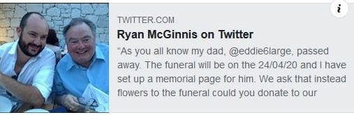 Hi everyone here is a link by #RyanMcGinnis the son of the great comic Eddie Large, where you can add a tribute to a memorial page in memory of his Dad, husband to Patsy! ????