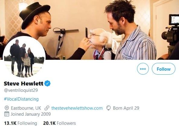 Steve Hewlett's Twitter profile