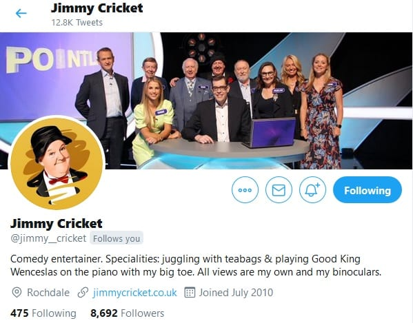 Jimmy Cricket's new Twitter profile photo