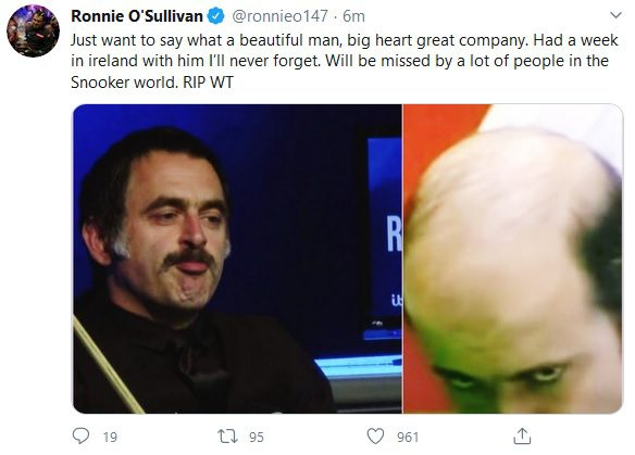 Ronnie O'Sullivan paid tribute to the late Willie Thorne
