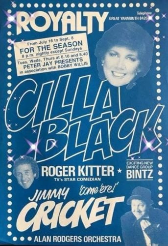 Jimmy Cricket and Cilla Black on poster