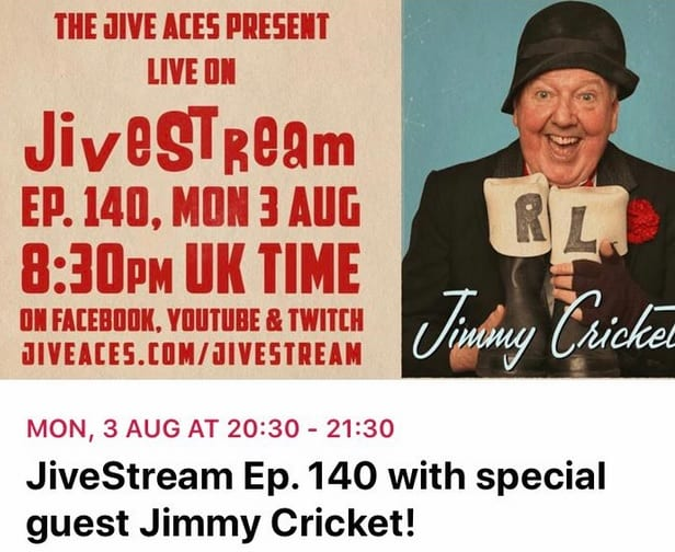 Hi folks! Why not join us this coming Monday on Facebook, as six aces and a joker share some chat and swing live on Facebook, looking forward to working again with these internationally acclaimed group of guys, (Ian, Vince, John, Alex, Ken, Peter), the Jive Aces
