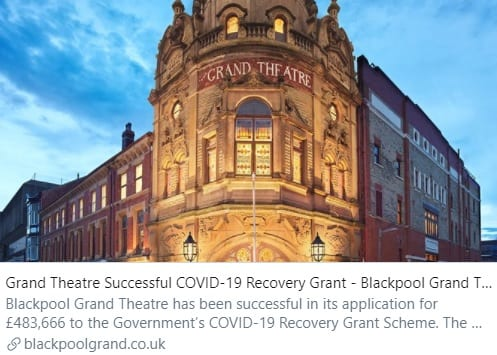 Wonderful news to start the week! Grand Theatre Successful COVID-19 Recovery Grant - Blackpool Grand Theatre