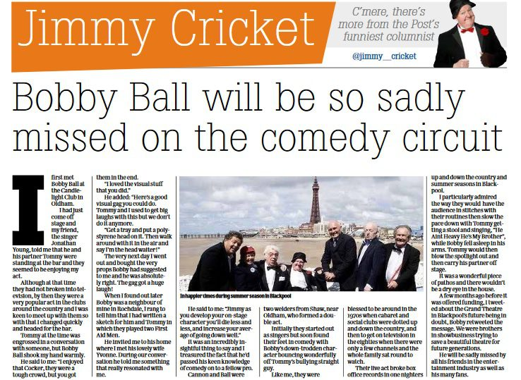 Jimmy Cricket's Lancashire Post column about the late Bobby Ball