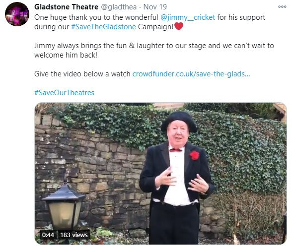 One huge thank you to the wonderful @jimmy__cricket for his support during our #SaveTheGladstone Campaign!Red heart Jimmy always brings the fun & laughter to our stage and we can't wait to welcome him back! Give the video below a watch https://crowdfunder.co.uk/save-the-gladstone #SaveOurTheatres