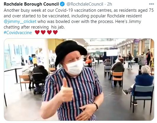 Rochdale Borough Council said: Another busy week at our Covid-19 vaccination centres, as residents aged 75 and over started to be vaccinated, including popular Rochdale resident @jimmy__cricket who was bowled over with the process.